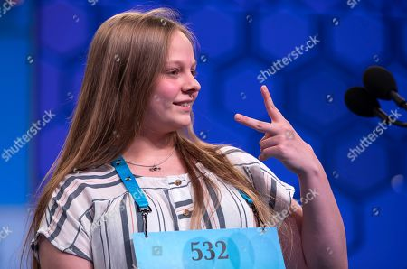Stock Picture of Brylie Koopman of Victoria, Texas reacts after misspelling 'incontrovertible' during the third round of the 2019 Scripps National Spelling Bee at National Harbor in Oxon Hill, Maryland, USA, 29 May 2019. The 92nd year of the Scripps National Spelling Bee features 562 competitors and continues through 30 May 2019.