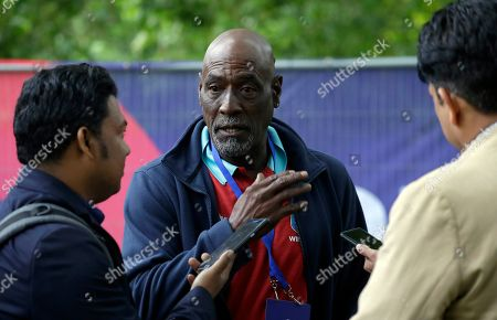 Former West Indies cricketer Sir Viv Richards is interviewed during a media opportunity to speak to cricket legends and celebrities from each of the competing nation ahead of the Cricket World Cup opening party along The Mall in London, . The opening Cricket World Cup match takes place on Thursday at The Oval in London