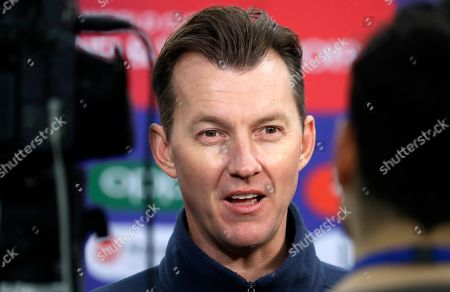 Former Australian cricketer Brett Lee is interviewed during a media opportunity to speak to cricket legends and celebrities from each of the competing nation ahead of the Cricket World Cup opening party along The Mall in London, . The opening Cricket World Cup match takes place on Thursday at The Oval in London