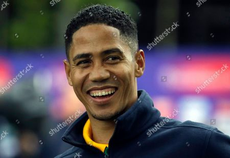 Former South African footballer Steven Pienaar is interviewed during a media opportunity to speak to cricket legends and celebrities from each of the competing nation ahead of the Cricket World Cup opening party along The Mall in London, . The opening Cricket World Cup match takes place on Thursday at The Oval in London