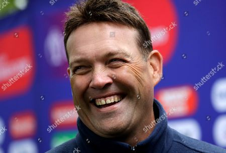 Stock Photo of Former South African cricketer Jacques Kallis is interviewed during a media opportunity to speak to cricket legends and celebrities from each of the competing nation ahead of the Cricket World Cup opening party along The Mall in London, . The opening Cricket World Cup match takes place on Thursday at The Oval in London