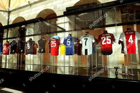 Soccer jerseys on display during the opening of the Champions Legends Gallery at the House of the Post Office in Madrid, Spain, 29 May 2019. The exhibition features original jerseys of 22 UEFA Champions League winning teams as well as nine jerseys that belonged to soccer legends like Alfredo Di Stefano, Johan Cruyff, Diego Maradona, Zinedine Zidane, Lionel Messi, and Cristiano Ronaldo. The event will be open to the public from 30 May to 02 June 2019 on the occasion of the UEFA Champions League final between Tottenham Hotspur and Liverpool FC at the Wanda Metropolitano stadium in Madrid, Spain, on 01 June 2019.