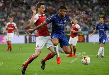 Emerson (C) of Chelsea and Laurent Koscielny (L) of Arsenal in action during the UEFA Europa League final between Chelsea FC and Arsenal FC at the Olympic Stadium in Baku, Azerbaijan, 29 May 2019.