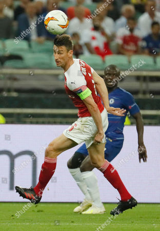 Laurent Koscielny (L) of Arsenal in action during the UEFA Europa League final between Chelsea FC and Arsenal FC at the Olympic Stadium in Baku, Azerbaijan, 29 May 2019.