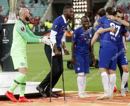 Injured Chelsea player Antonio Ruediger with his winner's medal after the UEFA Europa League final between Chelsea FC and Arsenal FC at the Olympic Stadium in Baku, Azerbaijan, 29 May 2019. Chelsea won 4-1.