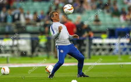 Coach Gianfranco Zola rolls back the years in the warm up