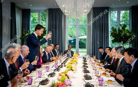Dutch Prime Minister Mark Rutte (4-L) welcomes Chinese vice president Wang Qishan (3-R) at the Catshuis in the Hague, the Netherlands, 29 May 2019. for a meeting and a work diner, dedicated to the topics of bilateral relations, trade and climate adaptation. Ministers Stef Blok (Foreign Affairs), Sigrid Kaag (Foreign Trade and Development Cooperation) and Cora van Nieuwenhuizen (Infrastructure and Water Management) and representatives from the business community are also present at the dinner.