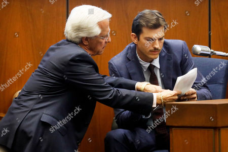 Defense attorney Daniel Nardoni (L) interacts with US actor Ashton Kutcher as he appears in court to testify during the Michael Thomas Gargiulo's trial at the Clara Shortridge Foltz Criminal Justice Center in Los Angeles, California, USA, 29 May 2019. Michael Gargiulo, also called the 'Hollywood Ripper', is charged with murder and attempted murder of young women in the L.A. area. Once the trial is over, Gargiulo will be sent back to Illinois to face murder charges for his alleged first victim.