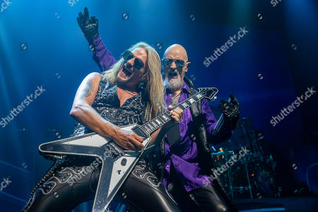 Rob Halford (R) and Richie Faulkner perform in concert with Judas Priest