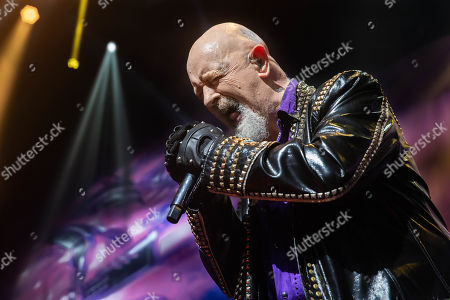 Rob Halford performs in concert with Judas Priest