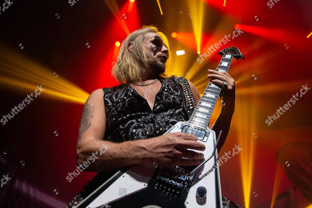 Richie Faulkner performs in concert with Judas Priest