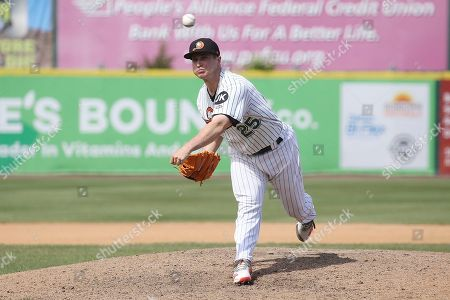 Stock Photo of Long Island Duck's relief pitcher Alex Katz during an Atlantic League of Professional Baseball game on in Central Islip, N.Y