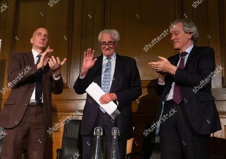 Stock Photo of Lord Adonis and Stephen Dorrell applaud after his speech. Michael Heseltine gives a speech on the future of British politics to mark his appointment as the new President of the European Movement.
