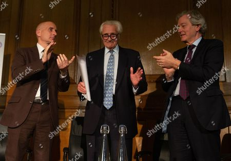 Lord Adonis and Stephen Dorrell applaud after his speech.  Michael Heseltine gives a speech on the future of British politics to mark his appointment as the new President of the European Movement.