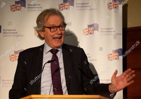 Stock Photo of Stephen Dorrell gives a speech on the future of British politics