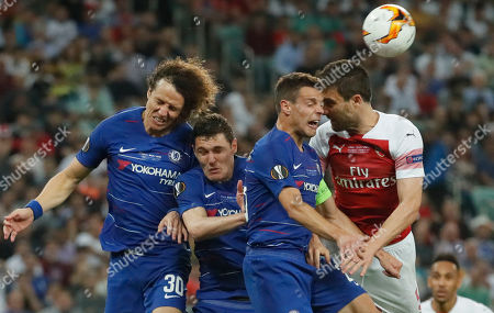 Stock Picture of (R-L) Sokratis of Arsenal in action against Chelsea's Cesar Azpilicueta, Andreas Christensen and David Luiz during the UEFA Europa League final between Chelsea FC and Arsenal FC at the Olympic Stadium in Baku, Azerbaijan, 30 May 2019.