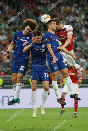 (R-L) Sokratis of Arsenal in action against Chelsea's Cesar Azpilicueta, Andreas Christensen and David Luiz during the UEFA Europa League final between Chelsea FC and Arsenal FC at the Olympic Stadium in Baku, Azerbaijan, 30 May 2019.