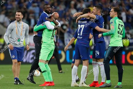 Chelsea's Antonio Ruediger (2-L) celebrates with team mates after winning the UEFA Europa League final between Chelsea FC and Arsenal FC at the Olympic Stadium in Baku, Azerbaijan, 30 May 2019.