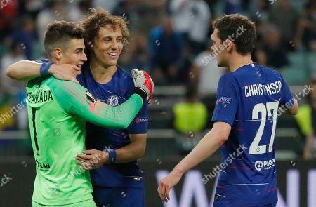 (L-R) Chelsea's Kepa Arrizabalaga, David Luiz and Andreas Christensen celebrate after winning the UEFA Europa League final between Chelsea FC and Arsenal FC at the Olympic Stadium in Baku, Azerbaijan, 30 May 2019.