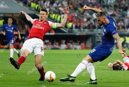 Stock Photo of Arsenal's Laurent Koscielny (L) in action against Chelsea's Olivier Giroud (R) during the UEFA Europa League final between Chelsea FC and Arsenal FC at the Olympic Stadium in Baku, Azerbaijan, 30 May 2019. Chelsea won 4-1.