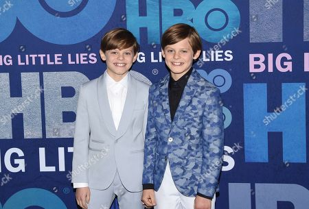 """Nicholas Crovetti, Cameron Crovetti. Twin brothers Nicholas Crovetti, left, and Cameron Crovetti attend the premiere of HBO's """"Big Little Lies"""" season two at Jazz at Lincoln Center, in New York"""