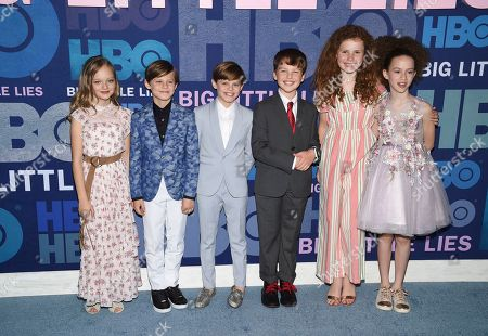 "Ivy George, Cameron Crovetti, Nicholas Crovetti, Iain Armitage, Darby Camp, Chloe Coleman. Actors, from left, Ivy George, Cameron Crovetti, Nicholas Crovetti, Iain Armitage, Darby Camp and Chloe Coleman attend the premiere of HBO's ""Big Little Lies"" season two at Jazz at Lincoln Center, in New York"