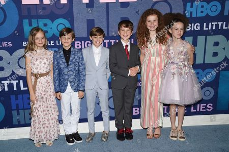 "Ivy George, Cameron Crovetti, Nicholas Crovetti, Iain Armitage, Darby Camp, Chloe Coleman. Ivy George, from left, Cameron Crovetti, Nicholas Crovetti, Iain Armitage, Darby Camp and Chloe Coleman attend the premiere of HBO's ""Big Little Lies"" season two at Jazz at Lincoln Center, in New York"