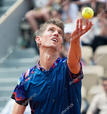 Yannick Maden (GER) is defeated by Rafael Nadal (ESP) 1-6, 2-6, 4-6, at the French Open being played at Stade Roland-Garros in Paris, France