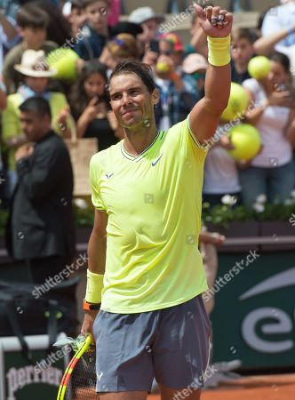 Stock Photo of Rafael Nadal (ESP) defeated Yannick Maden (GER) 6-1, 6-2, 6-4, at the French Open being played at Stade Roland-Garros in Paris, France