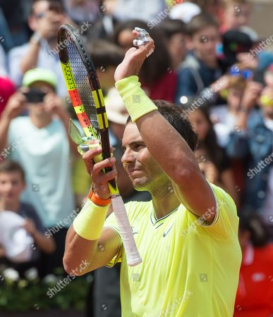 Stock Picture of Rafael Nadal (ESP) defeated Yannick Maden (GER) 6-1, 6-2, 6-4, at the French Open being played at Stade Roland-Garros in Paris, France