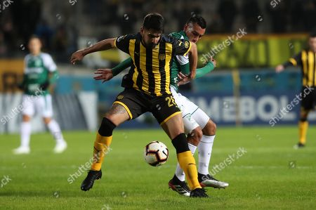 Stock Picture of Penarol's Lucas Viatri (L) vies for the ball with Deportivo Cali's Christian Rivera during their Copa Sudamericana soccer match between Penarol and Deportivo Cali, at Campeon del Siglo stadium in Montevideo, Uruguay, 29 May 2019
