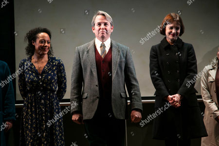 Rosalind Eleazar (Angela), Matthew Broderick (Mark) and Elizabeth McGovern (Anne) during the curtain call