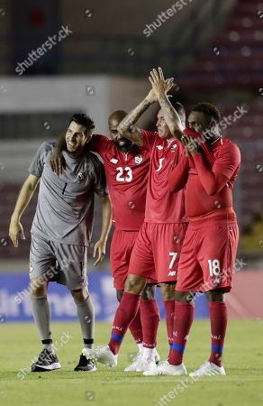 Panama's Jaime Penedo, left, Felipe Baloy, second left, Blas Perez, second right, and Luis Tejada thank the fans during a half time ceremony to retired them from Panamanian national soccer team, during a friendly soccer match between Panama and the Basque Country, in Panama City, Wednesday, May, 29, 2019