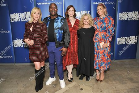 "Jane Krakowski, Tituss Burgess, Ellie Kemper, Carol Kane, Busy Philipps. Jane Krakowski, from left, Tituss Burgess, Ellie Kemper, Carol Kane and Busy Philipps attends the ""Unbreakable Kimmy Schmidt"" FYC event at Upright Citizens Brigade Theatre, in Los Angeles"