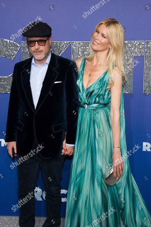 """Claudia Schiffer, Matthew Vaughn. Matthew Vaughn and Claudia Schiffer attend the premiere of """"Rocketman"""" at Alice Tully Hall, in New York"""