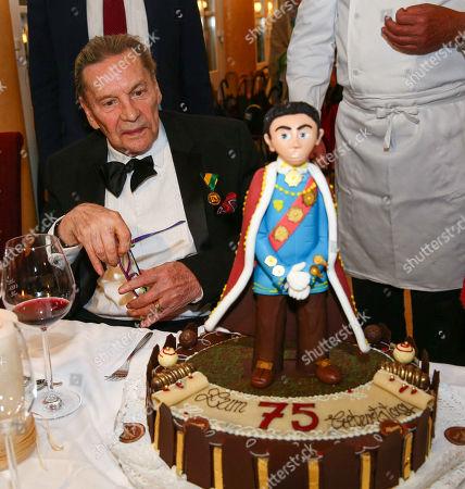 Helmut Berger with birthday cake