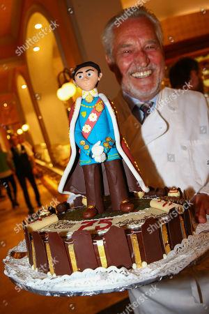 Stock Image of Josef Zauner with birthday cake