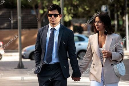 Stock Photo of Plaintiff and alleged Spanish singer Julio Iglesias' son Spaniard Javier Sanchez-Santos (L) arrives at court for the paternity suit trial hearing against the singer in Valencia, eastern Spain, 30 May 2019. The trial will run behind closed doors and Iglesias will not attend the hearing. Sanchez-Santos has a DNA test, obtained by a private detective in Miami, from an object put in the bin by Julio Jose Iglesias, Julio Iglesias' son, in a beach.