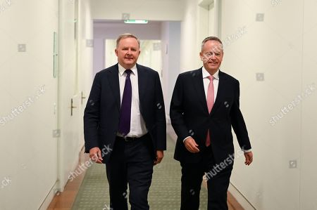Former Australian Opposition Leader Bill Shorten (R) and Labor Party leader elect Anthony Albanese arrive for a Labor party Caucus meeting at Parliament House in Canberra, Australian Capital Territory, Australia, 30 May 2019. The 46th parliament is expected to open in the first week of July 2019.