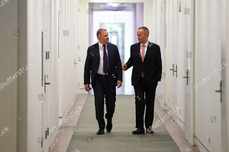 Stock Picture of Former Australian Opposition Leader Bill Shorten (R) and Labor Party leader elect Anthony Albanese arrive for a Labor party Caucus meeting at Parliament House in Canberra, Australian Capital Territory, Australia, 30 May 2019. The 46th parliament is expected to open in the first week of July 2019.