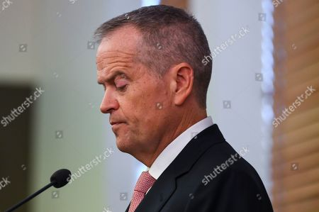 Stock Photo of Former Australian Opposition Leader Bill Shorten addresses a Labor party Caucus meeting at Parliament House in Canberra, Australian Capital Territory, Australia, 30 May 2019. The 46th parliament is expected to open in the first week of July 2019.
