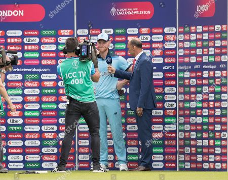 Man ion the Match Ben Stokes interviews with Nasser Hussain during England vs South Africa, ICC World Cup Cricket at the Kia Oval on 30th May 2019