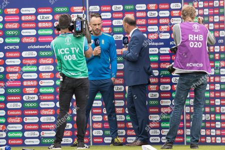Faf du Plessis  (South Africa) interviewed after the game by Nasser Hussain during England vs South Africa, ICC World Cup Cricket at the Kia Oval on 30th May 2019