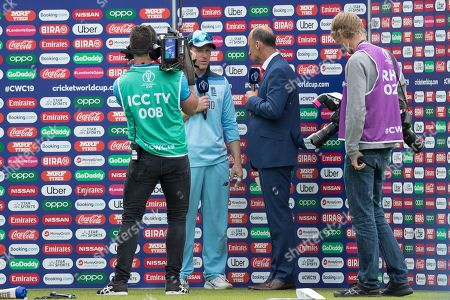Stock Image of Nasser Hussain interviews England captain Eoin Morgan (England) during England vs South Africa, ICC World Cup Cricket at the Kia Oval on 30th May 2019