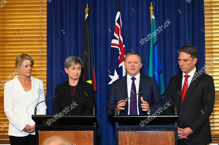 (L-R) Deputy Opposition Leader in the Senate Kristina Keneally, Leader of the Opposition in the Senate Penny Wong, Australian Leader of the Opposition Anthony Albanese and Deputy Leader of the Opposition Richard Marles speak to the media during a press conference at Parliament House in Canberra, Australian Capital Territory, Australia, 30 May 2019. The 46th parliament is expected to open in the first week of July 2019.