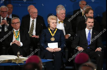 (L-R, front row) European Commission President Jean-Claude Juncker, Lithuanian President Dalia Grybauskaite (R) and Spain's King Felipe VI attend the Charlemagne Prize (Karlspreis) ceremony at the town hall in Aachen, Germany, 30 May 2019. The International Charlemagne Prize of the German City of Aachen is awarded annually since 1950 to people who have contributed to the ideals upon which Europe has been founded.