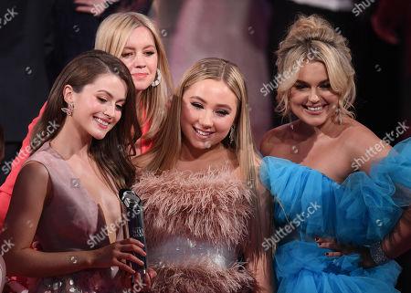 Stock Photo of Lauren McQueen, Alexandra Fletcher, Ruby O'Donnell amnd Tallia Storm - Best British Soap - Hollyoaks