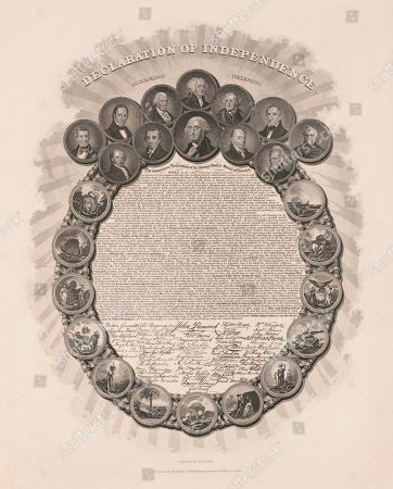 Declaration of Independence, in Congress July 4th 1776, Text and Signatures within Wreath of Portraits of First Twelve U.S. Presidents and Scenes Representing Thirteen Colonies, Engraved by Geo. G. Smith, Published by Charles Root, Boston, 1850