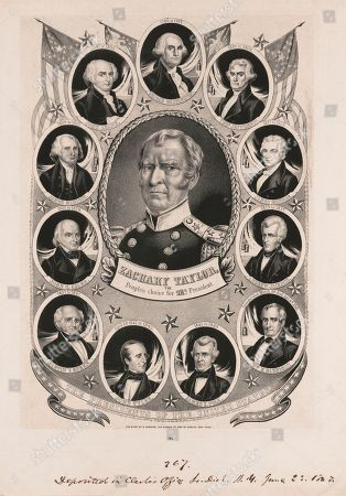 Zachary Taylor, the People's Choice for Twelfth President of the United States, Whig Campaign Banner, Portrait in Oval Surrounded by Portrait of Previous U.S. Presidents, Lithograph, Nathaniel Currier, 1848