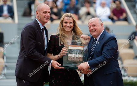 Lucie Safarova of the Czech Republic at her retirement ceremony at the 2019 Roland Garros Grand Slam tennis tournament